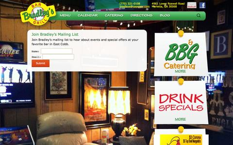 Screenshot of Signup Page bradleysbarandgrill.com - Join Bradley's Mailing List | Bradley's Bar & Grill - captured Feb. 9, 2016