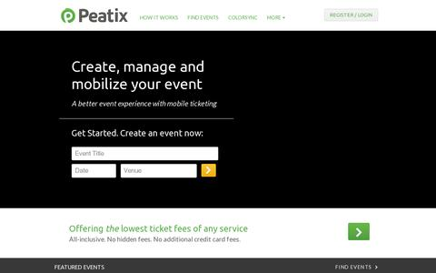 Screenshot of Home Page peatix.com - Peatix : Event and Ticket Creation for All | Peatix - captured July 11, 2014