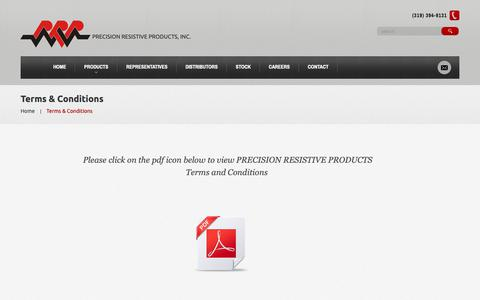 Screenshot of Terms Page prpinc.com - Terms & Conditions  |  Precision Resistive Products - captured Sept. 29, 2018