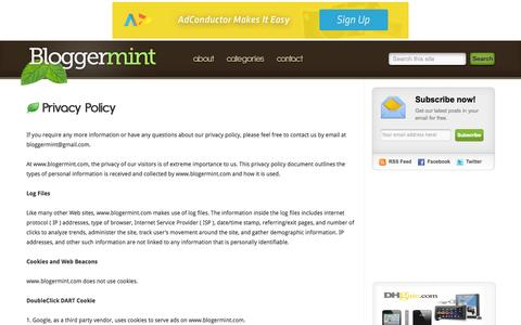 Screenshot of Privacy Page bloggermint.com - Privacy Policy - captured Oct. 30, 2014