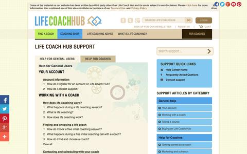 Screenshot of Support Page lifecoachhub.com - Support - Life Coach Hub - captured Sept. 24, 2014