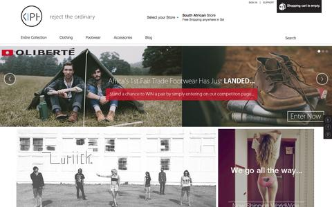 Screenshot of Home Page kiph.co.za - KIPH | independent menswear store - captured Sept. 30, 2014