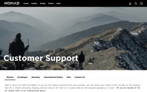 Screenshot of Support Page hellonomad.com - NOMAD® | Customer Support – Nomad Goods - captured July 21, 2018