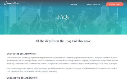 Screenshot of FAQ Page classy.org - FAQ | Collaborative 2017 - captured Jan. 30, 2017