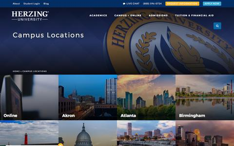 Screenshot of Locations Page herzing.edu - Herzing University Campus Locations & Online - captured Aug. 7, 2017