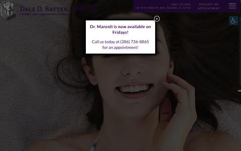 Screenshot of Home Page battendental.com - Dentist in DeLand, FL | Dale D. Batten, DMD, PA - captured Oct. 24, 2018