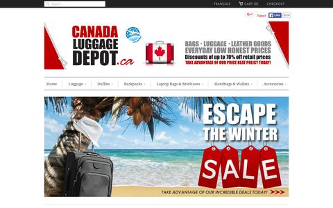 Screenshot of Home Page canadaluggagedepot.ca - Canada Luggage Depot | Luggage - Backpacks - Bags - Travel Gear - captured Jan. 21, 2016