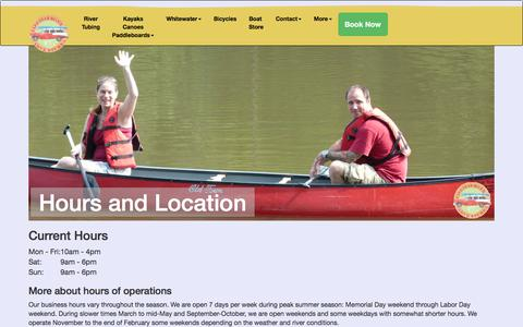 Screenshot of Hours Page capefearadventures.com - Cape Fear River Adventures - hour of operation, map and directions. - captured July 12, 2017