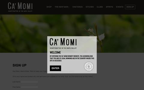 Screenshot of Signup Page camomiwinery.com - Sign Up | Ca' Momi Winery - captured July 10, 2016