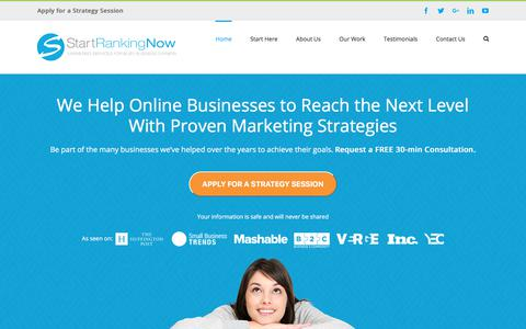 Screenshot of Home Page startrankingnow.com - Start Ranking Now | Online Business Success Path - captured Nov. 8, 2017