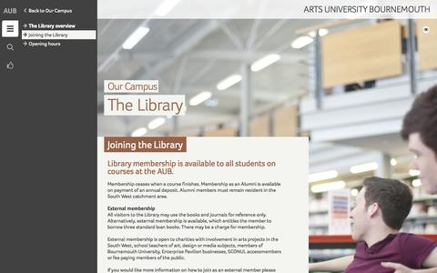 Screenshot of Signup Page aub.ac.uk - Joining the Library - Arts University Bournemouth - captured Sept. 19, 2014