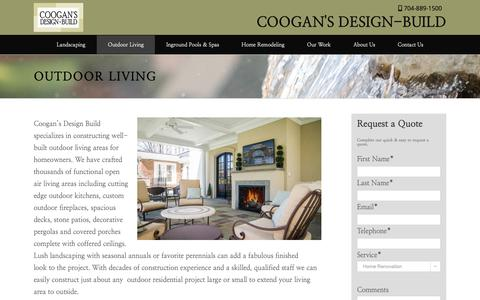 Screenshot of Services Page cooganslandscape.com - Outdoor Living Charlotte | Outdoor Spaces | Coogans Design Build - captured Sept. 29, 2018
