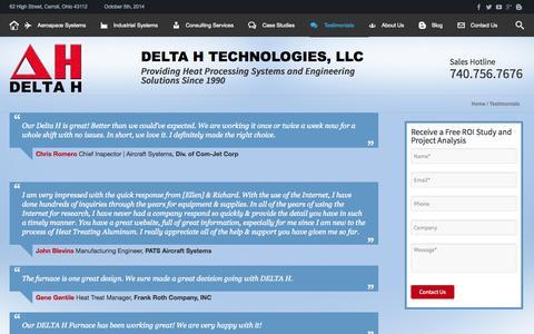 Screenshot of Testimonials Page delta-h.com - Testimonials - DELTA H TECHNOLOGIES - captured Oct. 5, 2014