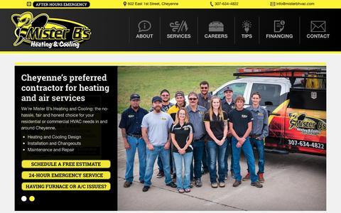 Screenshot of Home Page misterbhvac.com - Home - Mister B's HVAC - captured Nov. 29, 2016