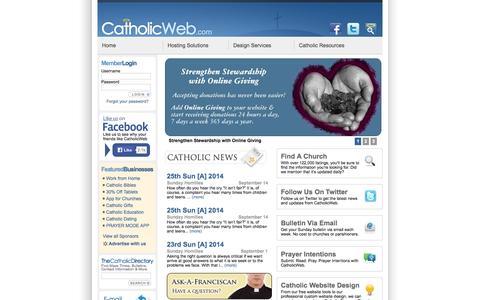 Screenshot of Home Page catholicweb.com - Catholic Web - Find Catholic Churches, Catholic Mass Times, Catholic Bulletins and Catholic Websites - captured Sept. 19, 2014