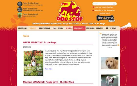 Screenshot of Press Page thedogstop.net - Press | The Dog Stop - captured Oct. 7, 2014