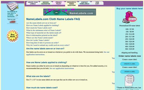 Screenshot of FAQ Page namelabels.com - FAQ | Affordable Clothing Tags In Fabric For Laundry & Camp – NameLabels.com - captured Nov. 15, 2017
