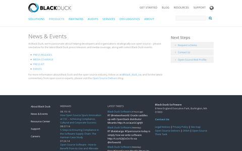 Screenshot of Press Page blackducksoftware.com - News & Events | Black Duck - captured July 20, 2014