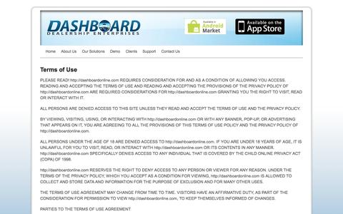 Screenshot of Terms Page dashboardonline.com - Dashboard Dealership Enterprise  |  Terms of Use - captured Oct. 5, 2014