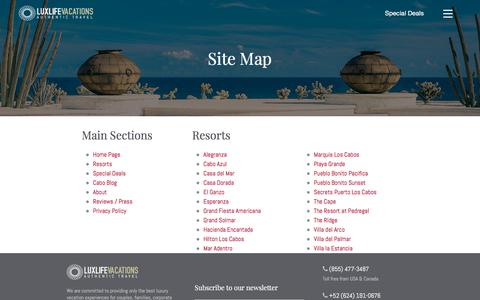 Screenshot of Site Map Page luxlifevacations.com - Site map — LuxLife Vacations - captured July 24, 2018