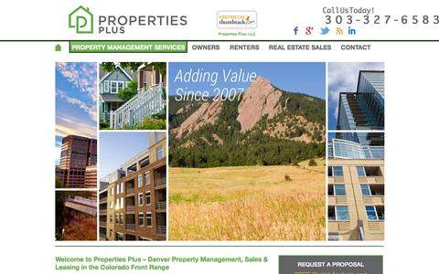 Screenshot of Home Page propertiespluscolorado.com - Welcome to Properties Plus - Denver Property Management, Sales & Leasing in the Colorado Front Range - Properties Plus - captured Sept. 18, 2015