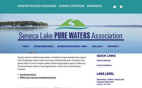 Screenshot of Signup Page senecalake.org - Join or Renew Your Membership in SLPWA - Seneca Lake Pure Waters Association - captured Oct. 18, 2018