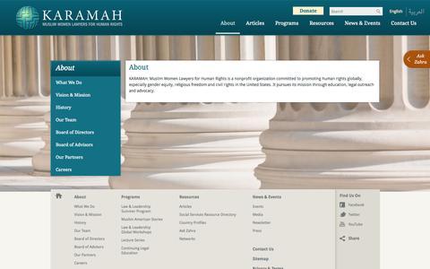 Screenshot of About Page karamah.org - About « Karamah - captured Oct. 6, 2014