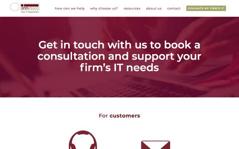 Screenshot of Contact Page innessco.com - Remote Desktop IT For Your Law Firm   Contact Us - captured Sept. 19, 2018