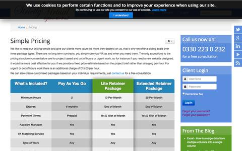 Screenshot of Pricing Page strictlyvirtual.co.uk - Pricing - captured Oct. 7, 2014