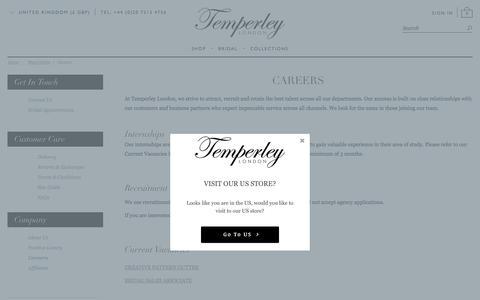 Screenshot of Jobs Page temperleylondon.com - Careers | Designer Clothing Online | Temperley London - captured Sept. 20, 2018