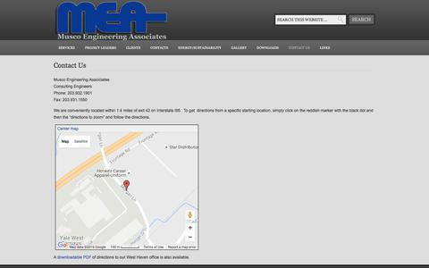 Screenshot of Contact Page Maps & Directions Page muscoengineering.com - Contact Us — Musco Engineering Associates - captured Nov. 30, 2016