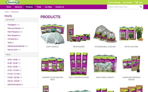 Screenshot of Products Page haxnicks.co.uk - Gardening Products | Haxnicks - captured Jan. 27, 2016