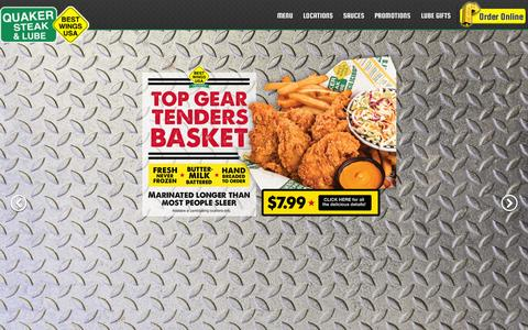 Screenshot of Home Page thelube.com - Quaker Steak & Lube® | Best Wings USA, Hottest Chicken Wings, Wing Sauce, Best Chicken Wings & Sauce - captured Sept. 19, 2014