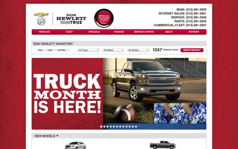 Screenshot of Home Page donhewlett.com - Texas Buick & Chevrolet | Don Hewlett Chevrolet Buick- Georgetown to Austin - captured Oct. 3, 2014