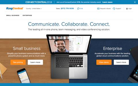 Screenshot of ringcentral.com - All-in-One Phone, Team Messaging, Video Conferencing | RingCentral - captured Sept. 19, 2018