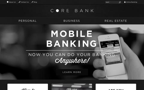 Screenshot of Home Page corebank.com - Core Bank - captured Sept. 30, 2014