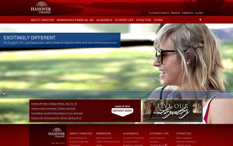 Screenshot of Home Page hanover.edu - College | Indiana's First Private College | Hanover College - captured July 12, 2014