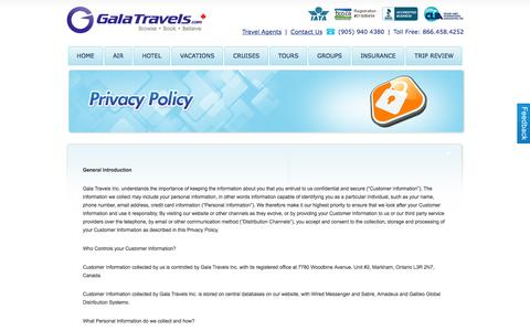 Screenshot of Privacy Page galatravels.com - Travel Agent Toronto Airfares, Flight Tickets, Cruises, Vacation Packages, Hotel Reservation Canada - captured Dec. 7, 2015