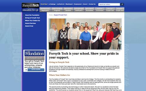 Screenshot of Support Page forsythtech.edu - Support Forsyth Tech | Forsyth Tech - captured Oct. 28, 2014