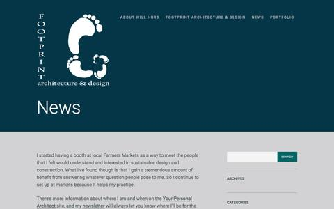 Screenshot of Press Page wordpress.com - News | Footprint Architecture & Design - captured Nov. 25, 2016