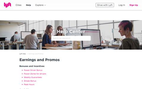 Screenshot of Support Page lyft.com - Earnings and Promos – Lyft Help - captured March 15, 2018