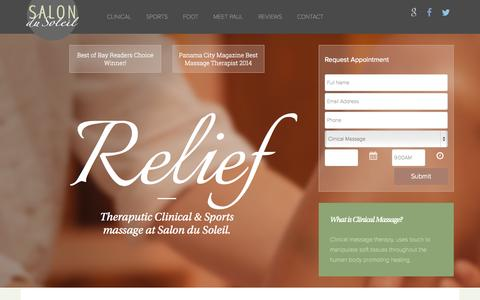 Screenshot of Home Page salondusoleilpc.com - Salon du Soleil | Panama City Massage, Panama City Skin Care - captured Sept. 16, 2015