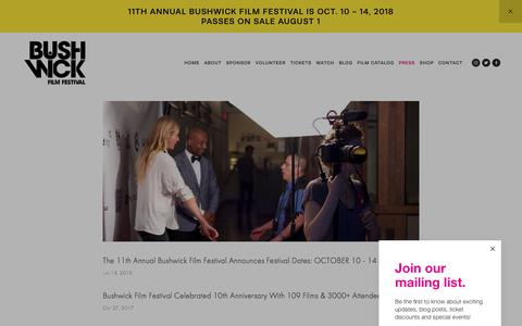 Screenshot of Press Page bushwickfilmfestival.com - PRESS — The Bushwick Film Festival - captured Aug. 4, 2018