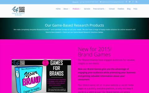 Screenshot of Products Page researchthroughgaming.com - Products | Research Through Gaming - captured Feb. 25, 2016