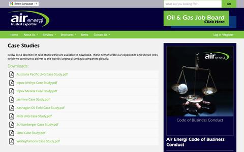Screenshot of Case Studies Page airenergi.com - Case Studies | Air Energi Oil and Gas Careers - captured Sept. 19, 2014