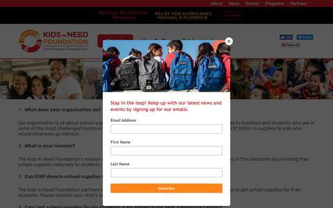 Screenshot of FAQ Page kinf.org - FAQ - Kids in Need Foundation - captured Oct. 15, 2018