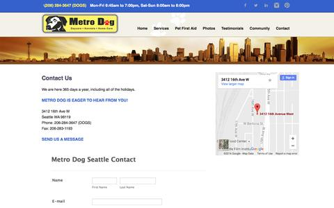 Screenshot of Contact Page metrodogseattle.com - Contact Us - captured Nov. 28, 2016