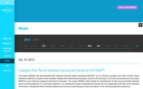 Screenshot of Press Page nanocyl.com - News Archives - Nanocyl - captured Feb. 13, 2016