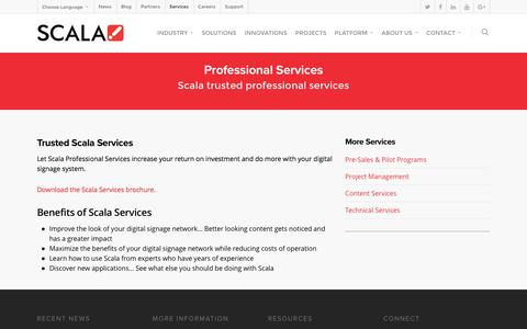 Screenshot of Services Page scala.com - Professional Services - Scala Digital Signage Software - captured July 23, 2016
