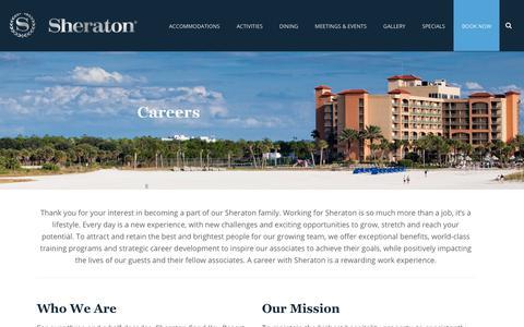 Screenshot of Jobs Page sheratonsandkey.com - Careers - Sheraton Sand Key Beach Resort - captured Nov. 19, 2018